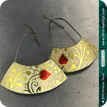 Load image into Gallery viewer, Golden Filigree Red Heart Large Fan Recycled Tin Earrings