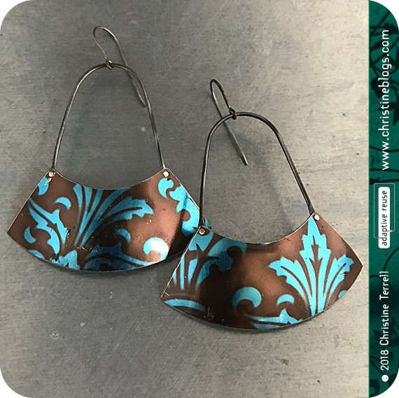 Chocolate & Sapphire Large Fan Recycled Tin Earrings Tin Anniversary Gift by Christine Terrell for adaptive reuse jewelry