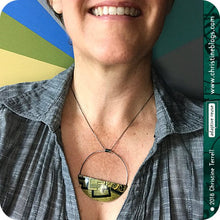 Load image into Gallery viewer, Patina Pattern Half Moon Recycled Pendant