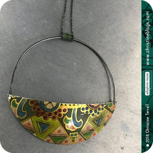 Load image into Gallery viewer, Half Moon Recycled Pendant Upcycled Tin Pendant