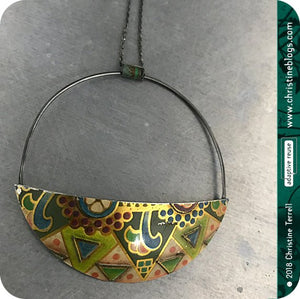 Half Moon Recycled Pendant Upcycled Tin Pendant