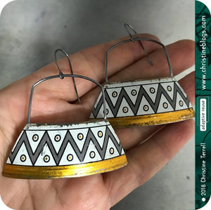 Zig Zag Large Gray & White Zero Waste Tin Earrings
