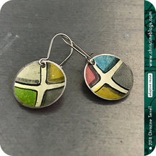 Load image into Gallery viewer, Colorful Ceramic Tile Tiny Dot Slow Fashion Tin Earrings by Christine Terrell for adaptive reuse jewelry