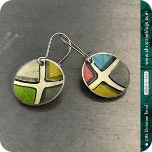 Colorful Ceramic Tile Tiny Dot Slow Fashion Tin Earrings by Christine Terrell for adaptive reuse jewelry