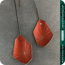 Load image into Gallery viewer, Orange Starburst Faceted Upcycled Tin Earrings 30th Birthday Gift