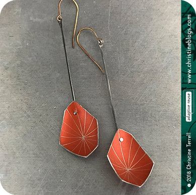 Orange Starburst Faceted Upcycled Tin Earrings 30th Birthday Gift