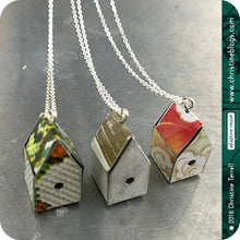 Load image into Gallery viewer, Tiny White Birdhouses Boho Upcycled Tin Necklace Tin Anniversary Wabi Sabi Gift for Her Bird Lover Sustainable Zero Waste Metal Sculpture
