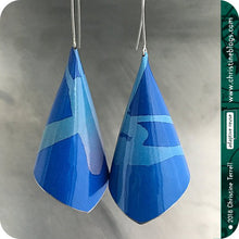 Load image into Gallery viewer, True Blue Conical Recycled Tin Earrings