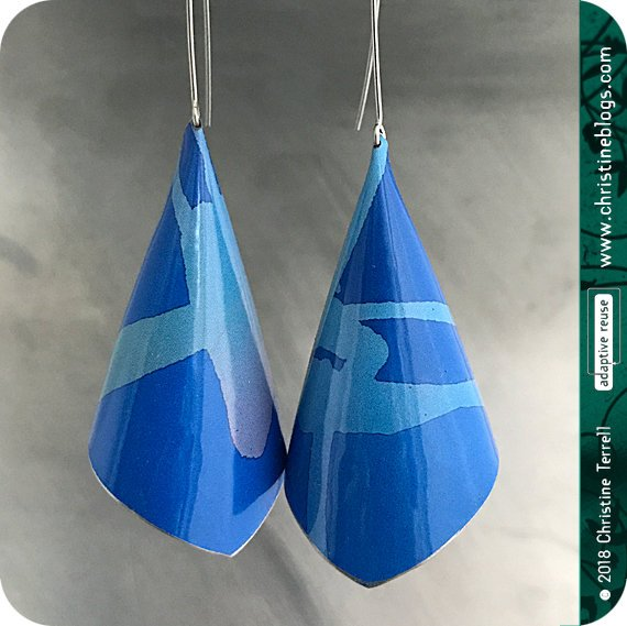 True Blue Conical Recycled Tin Earrings