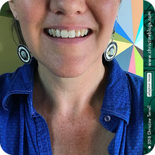 Load image into Gallery viewer, Bright Blue Layered Circles Upcycled Tin Earrings