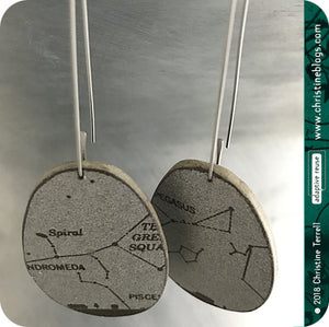 Silver Star Constellation Upcycled Book Earrings