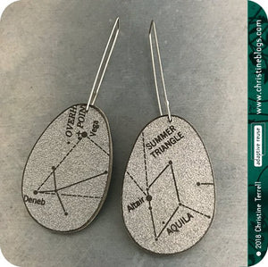Silver Star Constellation Recycled Book Cover Earrings