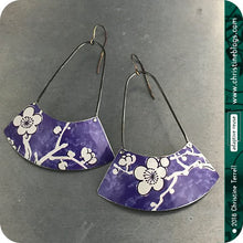 Load image into Gallery viewer, Purple with White Cherry Blossom Big Fan Recycled Tin Earrings 30th Birthday Gift