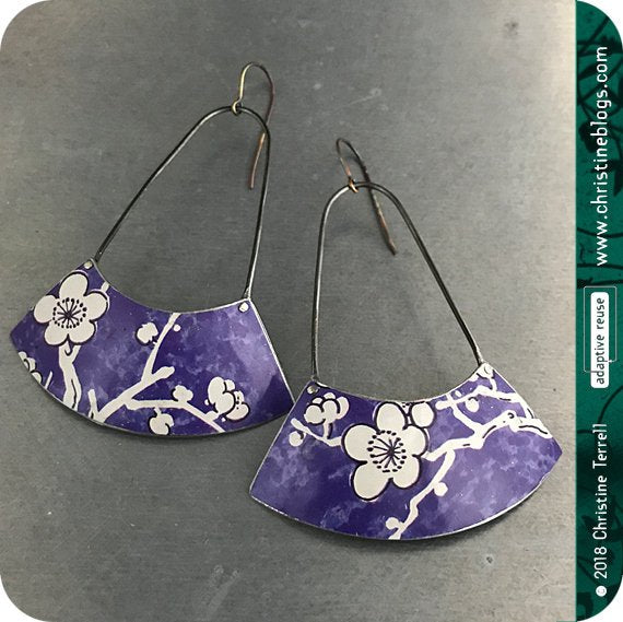 Purple with White Cherry Blossom Big Fan Recycled Tin Earrings 30th Birthday Gift