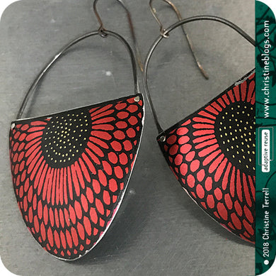 Sunflower Pattern Red & Black Large Upcycled Tin Earrings