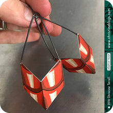 Load image into Gallery viewer, Red Roof Tile Chevrons Recycled Tin Earrings
