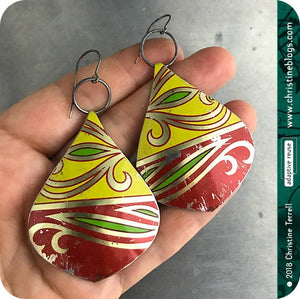 Red & Yellow Teardrop Recycled Fruitcake Tin Earrings Tin Anniversary Gift