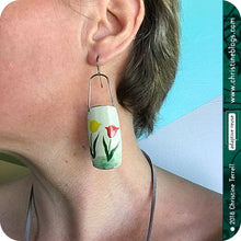 Load image into Gallery viewer, Red & Yellow Tulips Zero Waste Tin Earrings 30th Birthday Gift