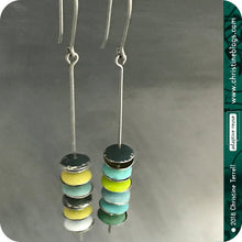 Load image into Gallery viewer, Mixed Yellow, Aqua & Greens Tiny Stacked Macarons Tin Earrings
