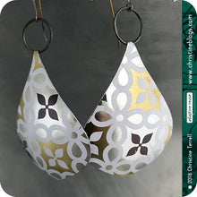 Load image into Gallery viewer, Silver & Gold Geometric Tin Big Teardrop Earrings 40th Birthday Gift