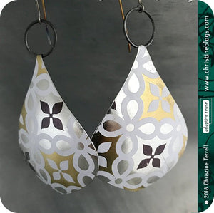 usilver gold and white recycled tin earrings by christine terrell for adaptive reuse jewelry