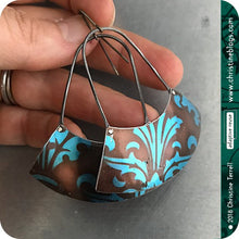 Load image into Gallery viewer, Chocolate & Sapphire Large Fan Recycled Tin Earrings Tin Anniversary Gift by Christine Terrell for adaptive reuse jewelry