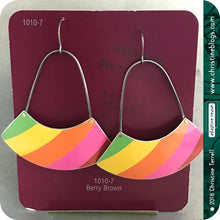 Load image into Gallery viewer, Bright Stripes Large Fan Recycled Tin Earrings 21st Birthday Gift