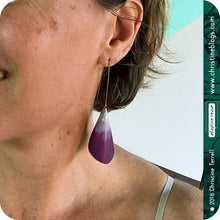Load image into Gallery viewer, Conical Red Violet Ombre Recycled Tin Earrings Tin Anniversary Gift