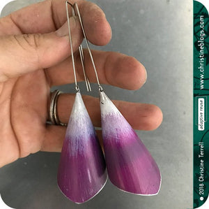 Conical Red Violet Ombre Recycled Tin Earrings Tin Anniversary Gift