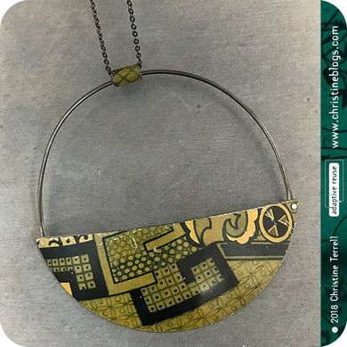 Patina Pattern Half Moon Recycled Pendant
