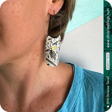 Load image into Gallery viewer, Golden & Gray Botanicals on White Tin Earrings