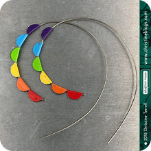 Load image into Gallery viewer, Rainbow Pennant Spiral Upcycled Tin Hoop Earrings 21st Birthday Gift