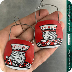 King of Clubs Upcycled tin earrings by christine terrell for adaptive reuse jewelry