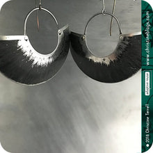 Load image into Gallery viewer, Black & Silver Half Moon Recycled Big Tin Earrings by Christine Terrell for adaptive reuse jewelry