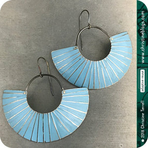 Silver Ice Blue Half Moon Recycled Tin Earrings