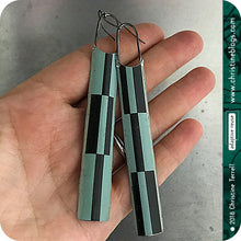 Load image into Gallery viewer, Black & Muted Aqua Long Tin Zero Waste Earrings Tin Anniversary Gift