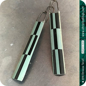 Black & Muted Aqua Long Tin Zero Waste Earrings Tin Anniversary Gift
