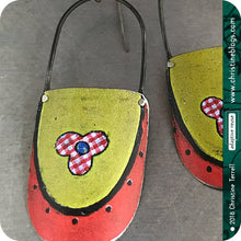 Load image into Gallery viewer, Red Checkered Flower on Bright Green Recycled Tin Earrings 30th Birthday Gift
