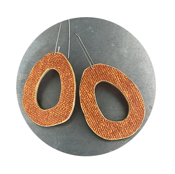 linen texture orange recycled book earrings by christine terrell for ex libris jewelry