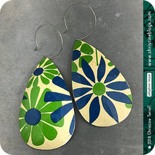 Load image into Gallery viewer, Vintage Green & Blue Flowers Zero Waste Teardrop Tin Earrings 30th Birthday Gift