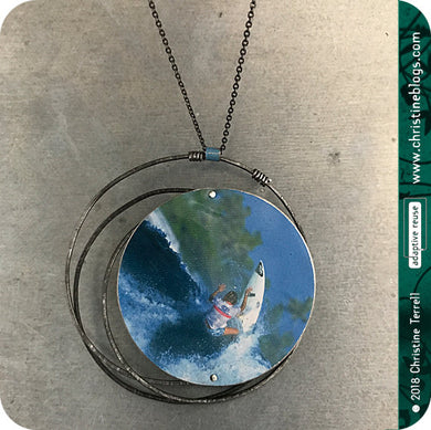 Circle Surfer Girl Upcycled Tin Necklace