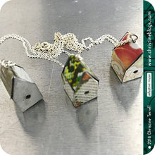 Load image into Gallery viewer, Red & Yellow Tiny Birdhouse Tin Necklace