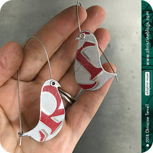 Load image into Gallery viewer, White & Red Birds on a Wire Zero Waste Tin Earrings