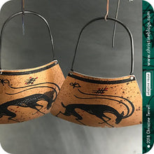 Load image into Gallery viewer, Black Antelope on Copper Zero Waste Tin Earrings by Christine Terrell for adaptive reuse jewelry