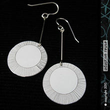 Load image into Gallery viewer, Etched White Circle Earrings Upcycled Tin Anniversary Gift