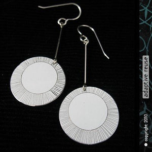 Etched White Circle Earrings Upcycled Tin Anniversary Gift