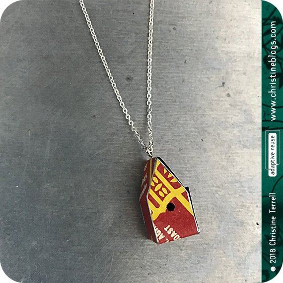 Red & Yellow Tiny Birdhouse Tin Necklace