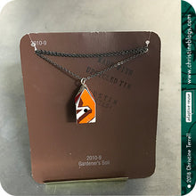 Load image into Gallery viewer, Orange Recycled Biscotti Tin Birdhouse Pendant Tin Anniversary Gift