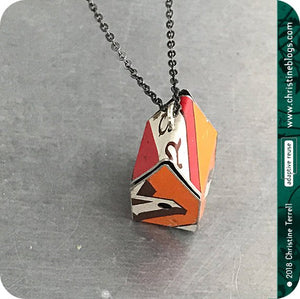 Orange Recycled Biscotti Tin Birdhouse Pendant Tin Anniversary Gift