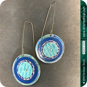 Bright Blue Layered Circles Upcycled Tin Earrings
